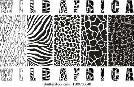 Vector illustration African animals wildlife black and white background