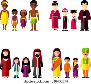 Vector illustration of african, asian, arab, indian family  Set of international family dressed in national costumes