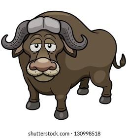 Vector illustration of African buffalo cartoon