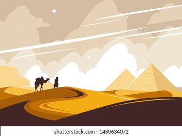 Vector illustration of an African desert, pyramids on the horizon, a silhouette of a bidouin walking through the desert with a camel
