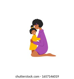 Vector illustration of african mom cuddle daughter isolated. Flat concept characters of parent and child. Afro mommy sits on knees and hugs little girl. Cute design of mother's love and happy family
