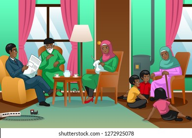 A vector illustration of African Muslim Family at Home