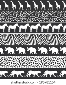 Vector illustration of African style seamless pattern with wild animals black-white