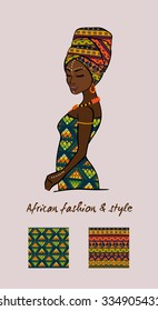 Vector illustration of an African woman with a seamless patterns. African fashion and style.