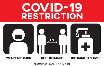 "Vector illustration after quarantine for coronavirus outbreak concept. Info-graphic of ""COVID-19 RESTRICTION"" signage. COVID-19 safety measures and precautions signs for business re-opening."