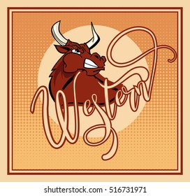 Vector illustration aggressive fighting bull. Wild buffalo bull in cartoon style for mascot and emblems, postcards, logotypes, badges, stickers, stamps, icons, frames, card design set.