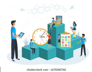 Vector illustration of agile project management, business teamwork, time management, planning and prioritize tasks. Young businessman with tablet organize daily routine to boost work efficiency.