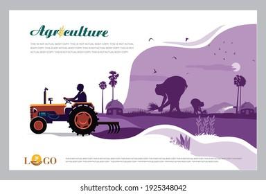 Vektorgrafik - Agrarwerbung-Vorlage mit Agrarfeldkonzept. Banner, Seite, Plakatvorlage mit Platz für Ihren Text.