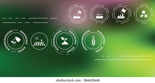 vector illustration of agriculture icons for farming and gardening concepts on abstract blurry background