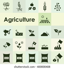 vector illustration / agriculture icons set