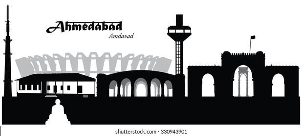 Vector illustration of Ahmedabad, India