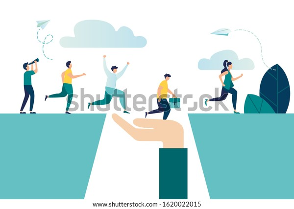 Vector illustration aimed at the goal, increase motivation, way to achieve the goal, teamwork, help in overcoming obstacles in the form of support vector