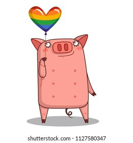 Vector illustration. Air balloons. Flag of a gay pride flag. happy pig
