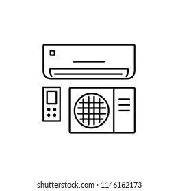 Vector illustration of air conditioner. Split system with remote control panel. Line icon of heat regulation appliance. Climate equipment for home & office. Isolated object on white background.