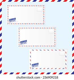 Vector illustration of air mail envelopes with stamp area and air mail stamp