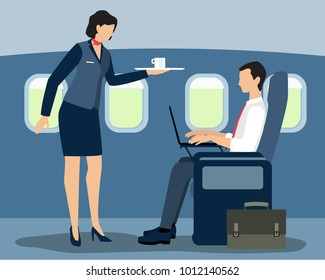 Vector illustration of air stewardess serving first class passenger on the flight. Flat style design.