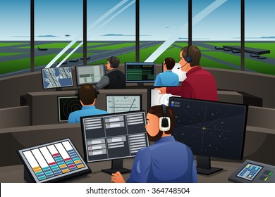 A vector illustration of air traffic controller working in the airport