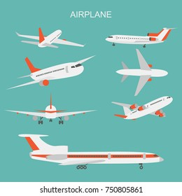 Vector illustration of airplane on blue background