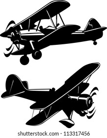Vector illustration of a airplanes black and white