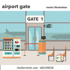 Vector illustration of Airport gate interior with Vending machine with snacks and coffee, suitcase, seating in flat design style