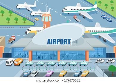 cartoon airport images stock photos vectors shutterstock rh shutterstock com cartoon airport video cartoon airport video