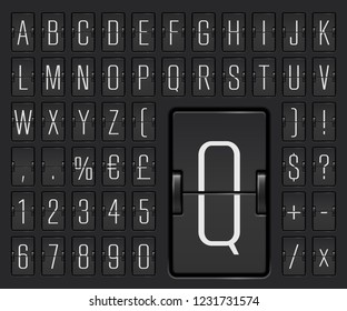 Vector illustration of airport terminal mechanical scoreboard font with numbers to display flight departure or arrival info. Black airline flip board narrow alphabet for destination time or timetable