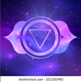 Vector illustration of Ajna chakra on outer space ultraviolet background.