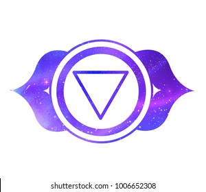 Vector illustration of Ajna chakra with outer space and nebula inside.