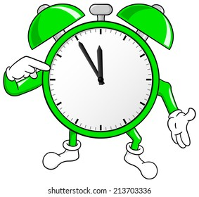 vector illustration of a alarm clock in the eleventh hour