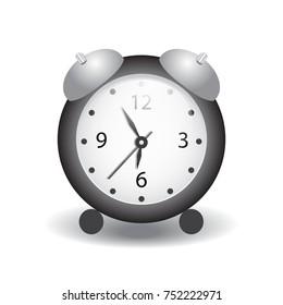 Vector illustration of a alarm clock. Flat design, vector.