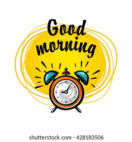 Vector illustration of alarm clock with hand-drawn yellow sun on white background. Calligraphic inscription good morning 1.1