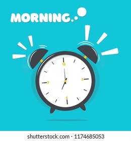 Vector illustration of alarm clock with morning text.