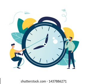 Vector illustration, the alarm clock is ringing on a white background, the concept of working time management, quick response to awakening, transfer of time back