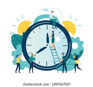 Vector illustration, alarm clock rings on white background, concept of work time management, quick reaction awakening