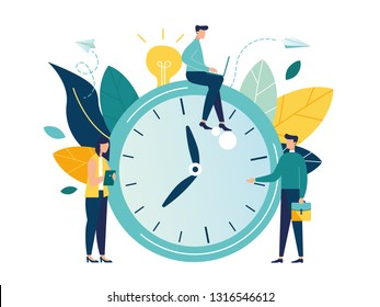 Vector illustration, alarm clock rings on white background, concept of work time management, quick reaction awakening - Vector