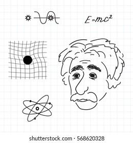 vector illustration of Albert Einstein discoveries.Sketch