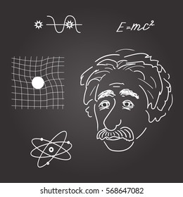 vector illustration of Albert Einstein discoveries.sketch on blackboard