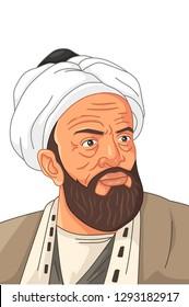 A vector illustration of Al-Biruni Muslim Scholar
