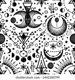 Vector illustration, Alchemy, magical astrology, spirituality and occultism, Handmade, light  background, seamless pattern, print on t-shirt