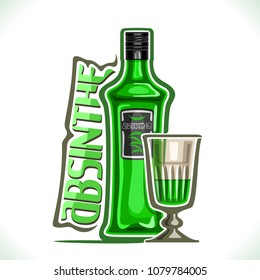 Vector illustration of alcohol drink Absinthe, green bottle of premium herbal tincture and vintage half full cordial glass, original typeface for word absinthe, contour composition for bar menu.