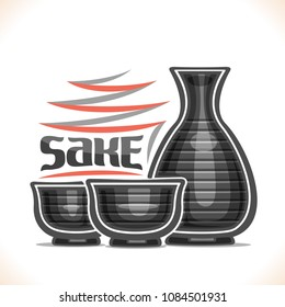 Vector illustration of alcohol drink Sake, 2 grey pottery caps and tokkuri jug with striped pattern for japanese rice vodka, original typeface for word sake, silhouette composition for bar menu.