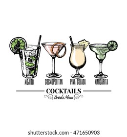 Vector illustration of alcoholic cocktais. Hand drawn sketch of mojito margarita pina colada and cosmopolitan with slice of lime and straw. Bar menu design.  Template for card and poster