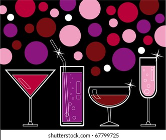 vector illustration of alcoholic drinks and juice