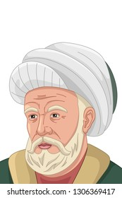 A vector illustration of Al-Farabi Muslim Philosopher