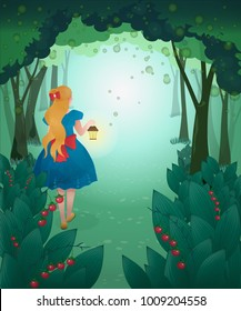 Vector illustration of Alice in wonderland with lantern on background of fairy forest. Fairy tales.