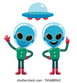 Vector illustration of aliens character in space suit and spaceship isolated on white background.