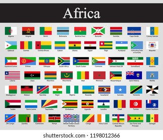 Vector illustration all flags of Africa. All countries of Africa flags.