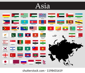 Vector illustration all flags of Asia. All countries of Asia flags.
