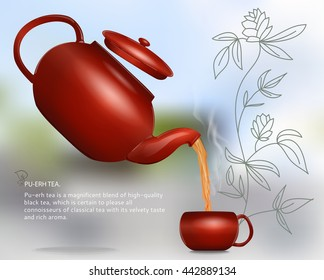 Vector illustration. All picture elements are separated from each other. Clay teapot pours hot tea in a cup with a handle. Use decorating design for web, wall, greeting, wedding cards.