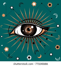 Vector illustration with All-seeing eye symbol. Celestial background. Retro and boho style.